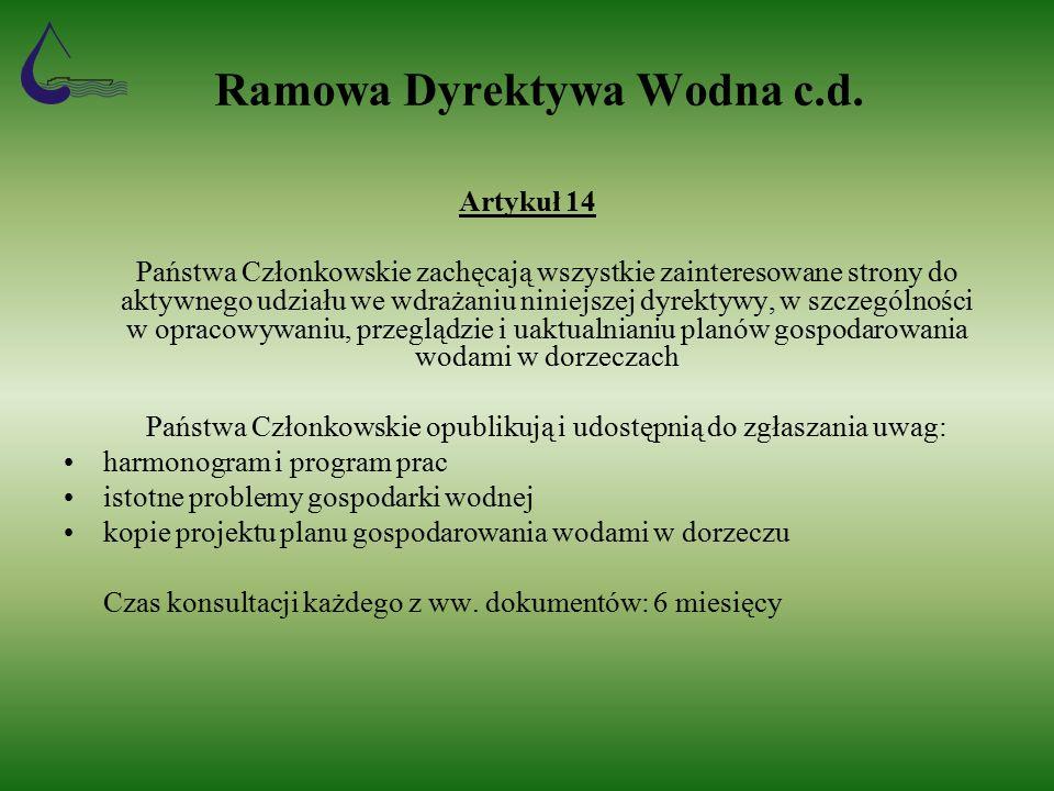 Ramowa Dyrektywa Wodna c.d.