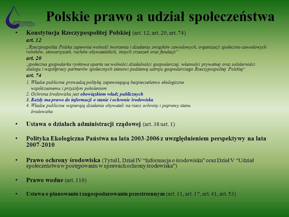 Polskie prawo a udział społeczeństwa Konstytucja Rzeczypospolitej Polskiej (art.