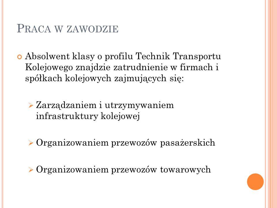 P RACA W ZAWODZIE Absolwent klasy o profilu Technik Transportu Kolejowego znajdzie zatrudnienie w firmach i spółkach kolejowych zajmujących się:  Zar