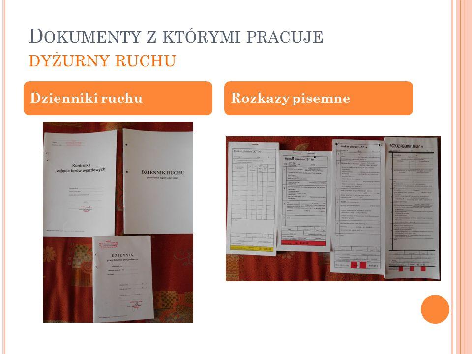 D OKUMENTY Z KTÓRYMI PRACUJE DYŻURNY RUCHU Dzienniki ruchuRozkazy pisemne