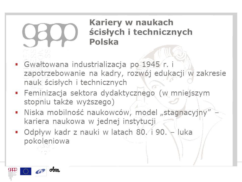 Kariery w naukach ścisłych i technicznych Polska  Gwałtowana industrializacja po 1945 r. i zapotrzebowanie na kadry, rozwój edukacji w zakresie nauk