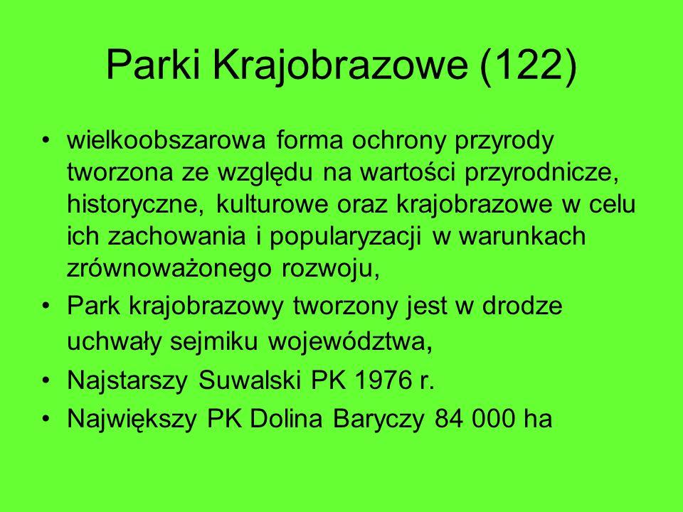 Parki Krajobrazowe (122) wielkoobszarowa forma ochrony przyrody tworzona ze względu na wartości przyrodnicze, historyczne, kulturowe oraz krajobrazowe