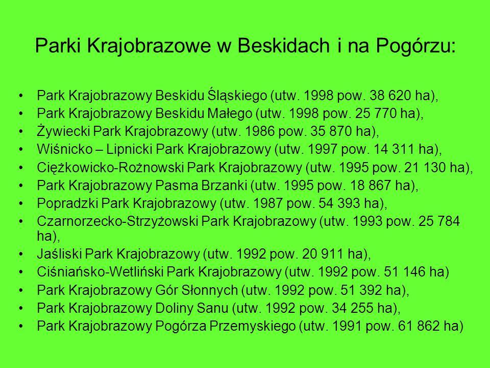 Parki Krajobrazowe w Beskidach i na Pogórzu: Park Krajobrazowy Beskidu Śląskiego (utw. 1998 pow. 38 620 ha), Park Krajobrazowy Beskidu Małego (utw. 19