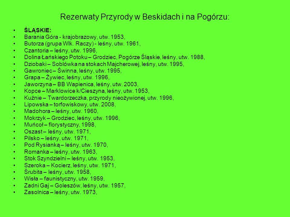Rezerwaty Przyrody w Beskidach i na Pogórzu: ŚLĄSKIE: Barania Góra - krajobrazowy, utw. 1953, Butorza (grupa Wlk. Raczy) - leśny, utw. 1961, Czantoria