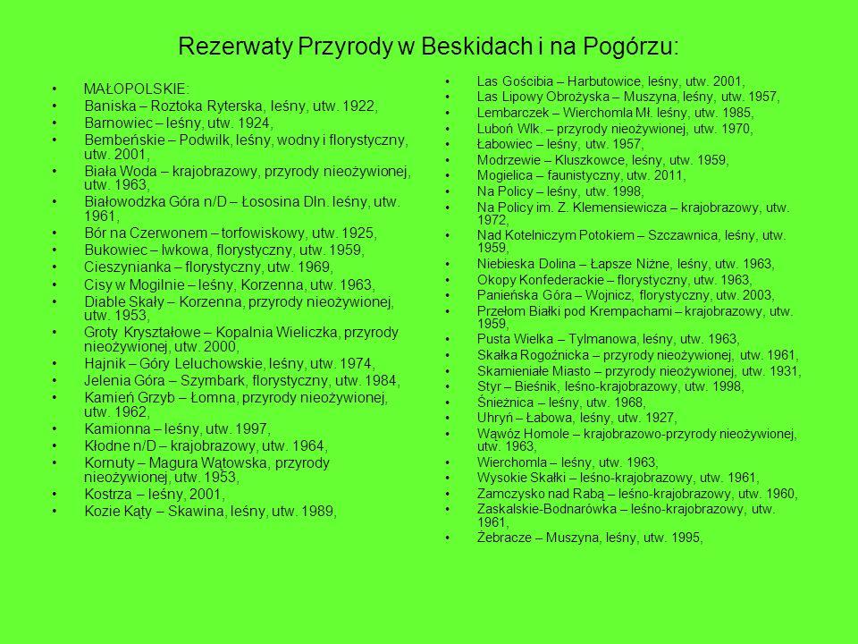 Rezerwaty Przyrody w Beskidach i na Pogórzu: MAŁOPOLSKIE: Baniska – Roztoka Ryterska, leśny, utw. 1922, Barnowiec – leśny, utw. 1924, Bembeńskie – Pod