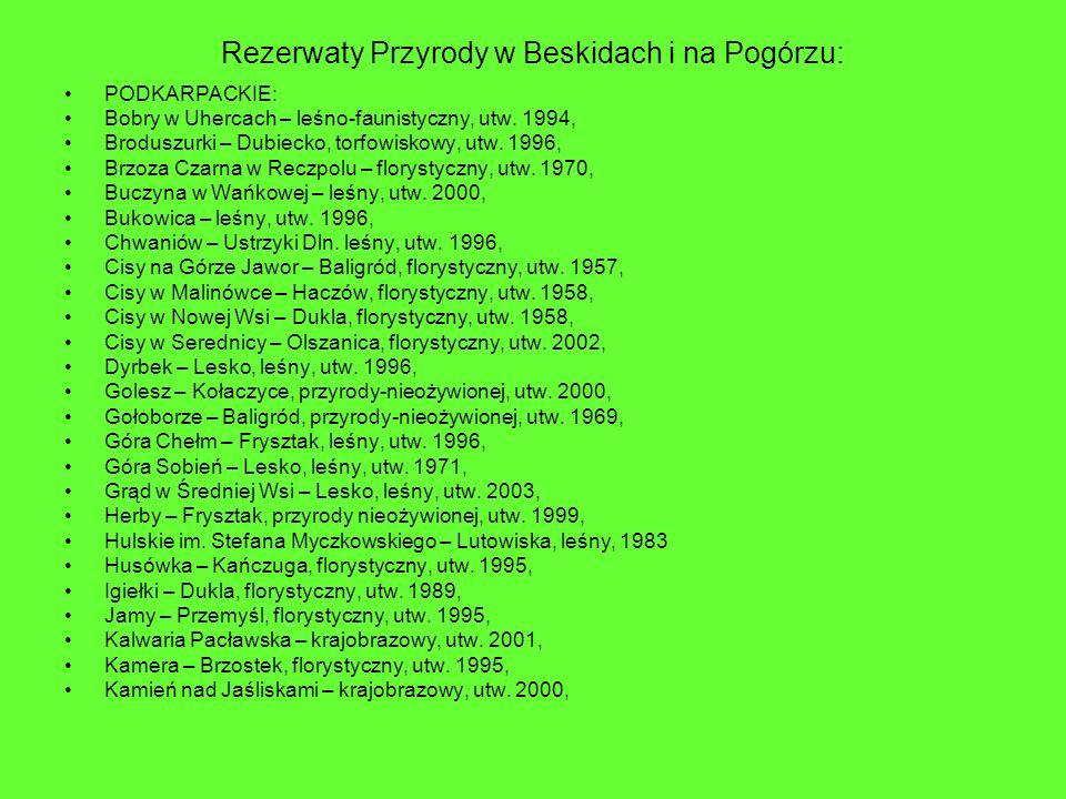 Rezerwaty Przyrody w Beskidach i na Pogórzu: PODKARPACKIE: Bobry w Uhercach – leśno-faunistyczny, utw. 1994, Broduszurki – Dubiecko, torfowiskowy, utw