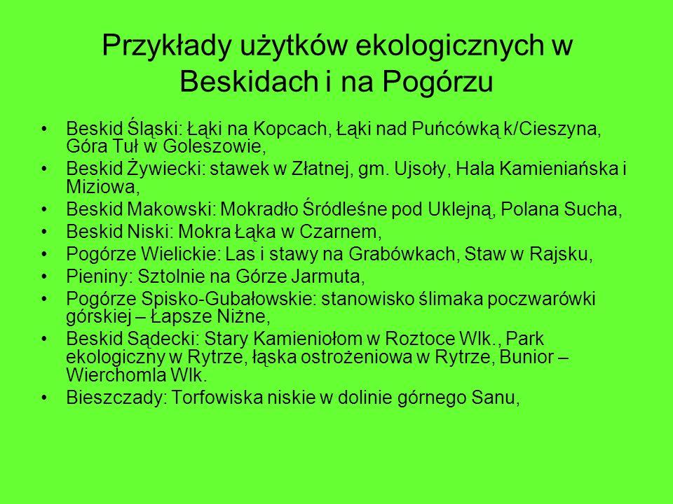 Przykłady użytków ekologicznych w Beskidach i na Pogórzu Beskid Śląski: Łąki na Kopcach, Łąki nad Puńcówką k/Cieszyna, Góra Tuł w Goleszowie, Beskid Ż