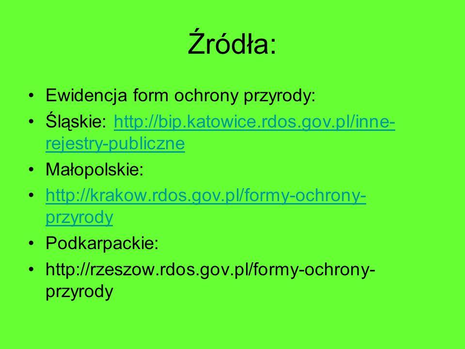 Źródła: Ewidencja form ochrony przyrody: Śląskie: http://bip.katowice.rdos.gov.pl/inne- rejestry-publicznehttp://bip.katowice.rdos.gov.pl/inne- rejest