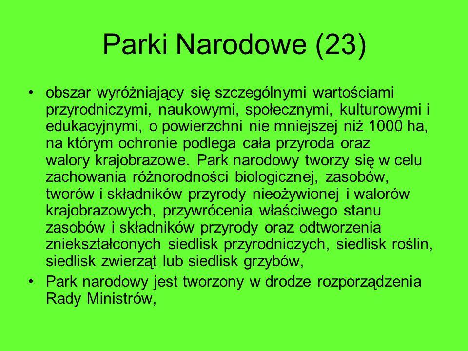 Parki Narodowe (23) obszar wyróżniający się szczególnymi wartościami przyrodniczymi, naukowymi, społecznymi, kulturowymi i edukacyjnymi, o powierzchni