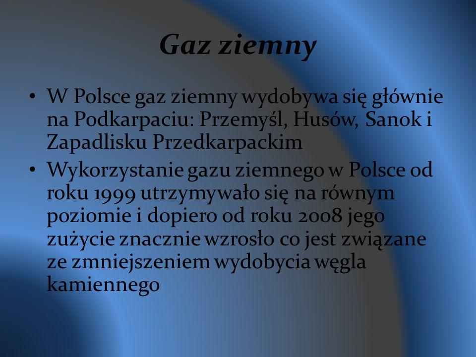 Gaz ziemny W Polsce gaz ziemny wydobywa się głównie na Podkarpaciu: Przemyśl, Husów, Sanok i Zapadlisku Przedkarpackim Wykorzystanie gazu ziemnego w Polsce od roku 1999 utrzymywało się na równym poziomie i dopiero od roku 2008 jego zużycie znacznie wzrosło co jest związane ze zmniejszeniem wydobycia węgla kamiennego