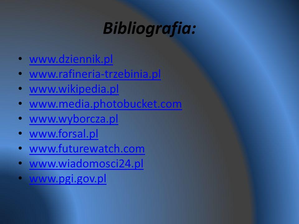 Bibliografia: www.dziennik.pl www.rafineria-trzebinia.pl www.wikipedia.pl www.media.photobucket.com www.wyborcza.pl www.forsal.pl www.futurewatch.com www.wiadomosci24.pl www.pgi.gov.pl
