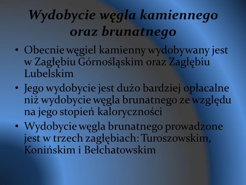 Wydobycie węgla kamiennego oraz brunatnego Obecnie węgiel kamienny wydobywany jest w Zagłębiu Górnośląskim oraz Zagłębiu Lubelskim Jego wydobycie jest dużo bardziej opłacalne niż wydobycie węgla brunatnego ze względu na jego stopień kaloryczności Wydobycie węgla brunatnego prowadzone jest w trzech zagłębiach: Turoszowskim, Konińskim i Bełchatowskim