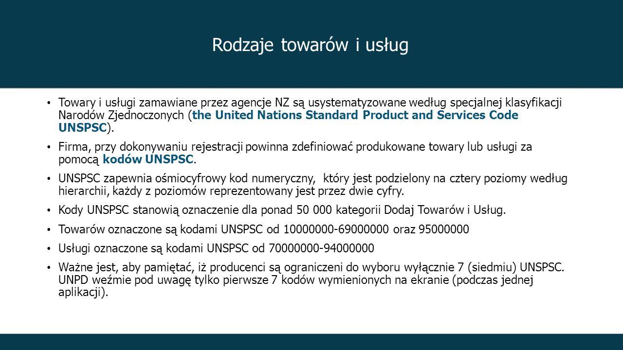 Rodzaje towarów i usług Towary i usługi zamawiane przez agencje NZ są usystematyzowane według specjalnej klasyfikacji Narodów Zjednoczonych (the United Nations Standard Product and Services Code UNSPSC).