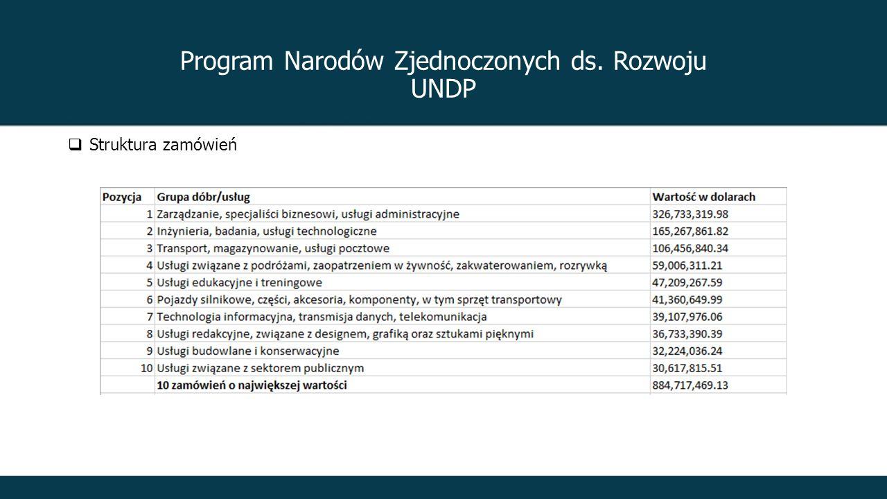 Program Narodów Zjednoczonych ds. Rozwoju UNDP  Struktura zamówień