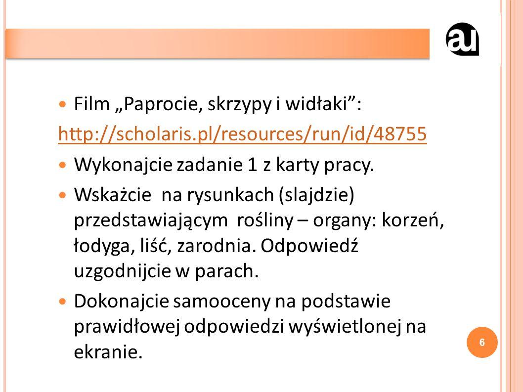 """Film """"Paprocie, skrzypy i widłaki : http://scholaris.pl/resources/run/id/48755 Wykonajcie zadanie 1 z karty pracy."""