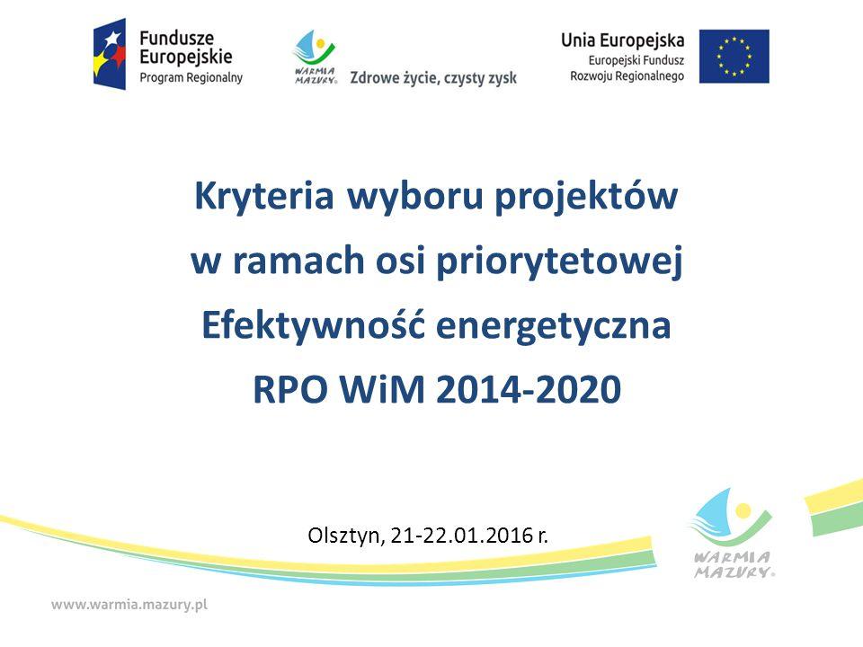 Poddziałanie 4.3.2 Efektywność energetyczna w budynkach mieszkalnych Limity i ograniczenia (2/3) Wszelkie inwestycje powinny być zgodne z standardami unijnymi i przepisami w zakresie ochrony środowiska Dofinansowanie otrzymają projekty polegające na głębokiej kompleksowej modernizacji energetycznej budynków, w wyniku której oszczędność energii wyniesie min.
