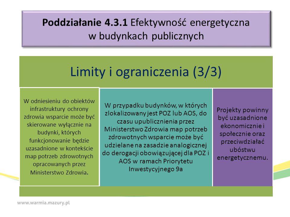 Poddziałanie 4.3.1 Efektywność energetyczna w budynkach publicznych Limity i ograniczenia (3/3) W odniesieniu do obiektów infrastruktury ochrony zdrowia wsparcie może być skierowane wyłącznie na budynki, których funkcjonowanie będzie uzasadnione w kontekście map potrzeb zdrowotnych opracowanych przez Ministerstwo Zdrowia.