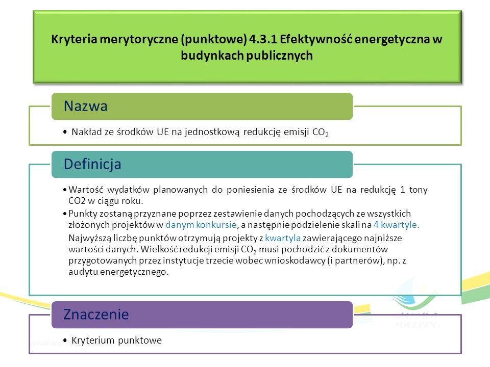 Kryteria merytoryczne (punktowe) 4.3.1 Efektywność energetyczna w budynkach publicznych Nakład ze środków UE na jednostkową redukcję emisji CO2 Nazwa