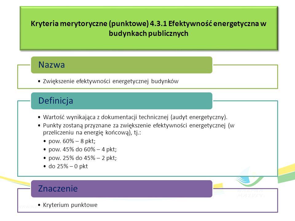 Kryteria merytoryczne (punktowe) 4.3.1 Efektywność energetyczna w budynkach publicznych Zwiększenie efektywności energetycznej budynków Nazwa Wartość