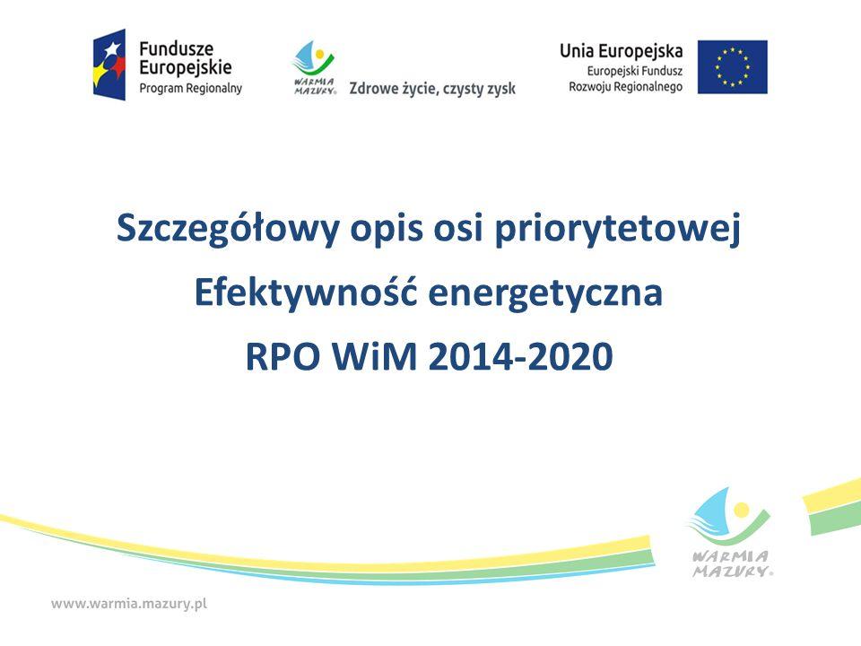 Strategia niskoemisyjna Nazwa Sprawdzane jest, czy projekt wpisuje się w strategię niskoemisyjną lub dokumenty spełniające ich wymogi, obowiązującą na obszarze realizacji projektu Definicja Kryterium punktowe Znaczenie Kryteria merytoryczne (premiujące) 4.3.2 Efektywność energetyczna w budynkach mieszkalnych Kryteria merytoryczne (premiujące) 4.3.2 Efektywność energetyczna w budynkach mieszkalnych