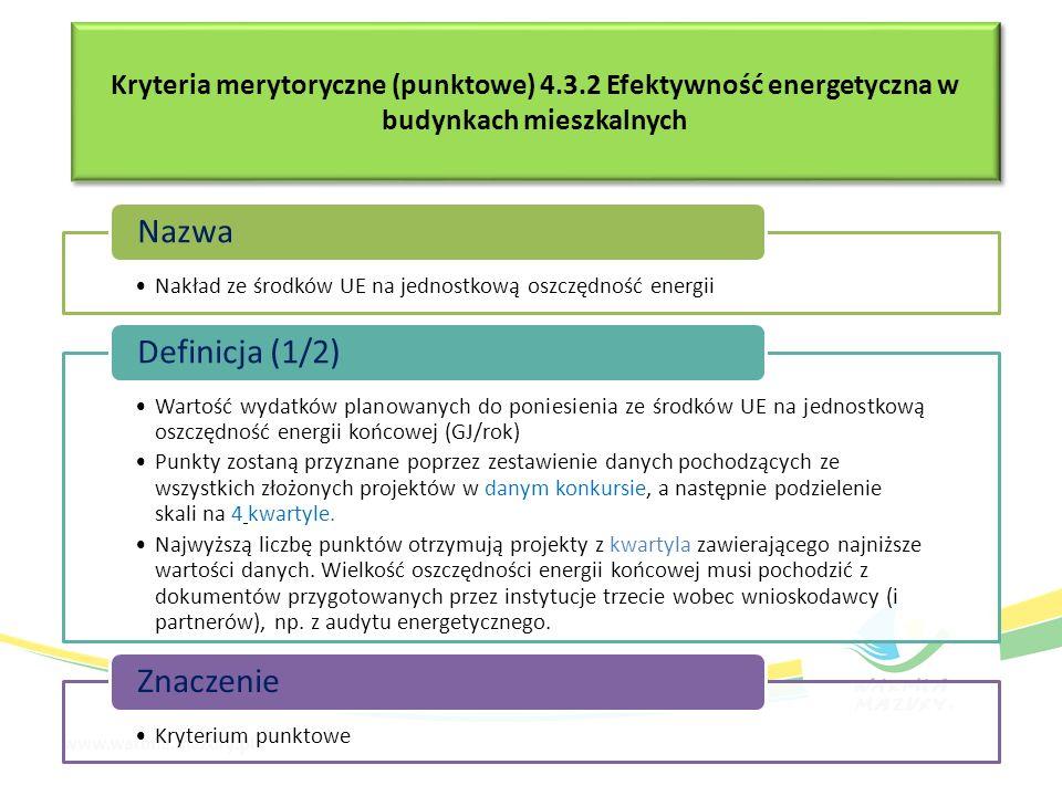 Kryteria merytoryczne (punktowe) 4.3.2 Efektywność energetyczna w budynkach mieszkalnych Nakład ze środków UE na jednostkową oszczędność energii Nazwa