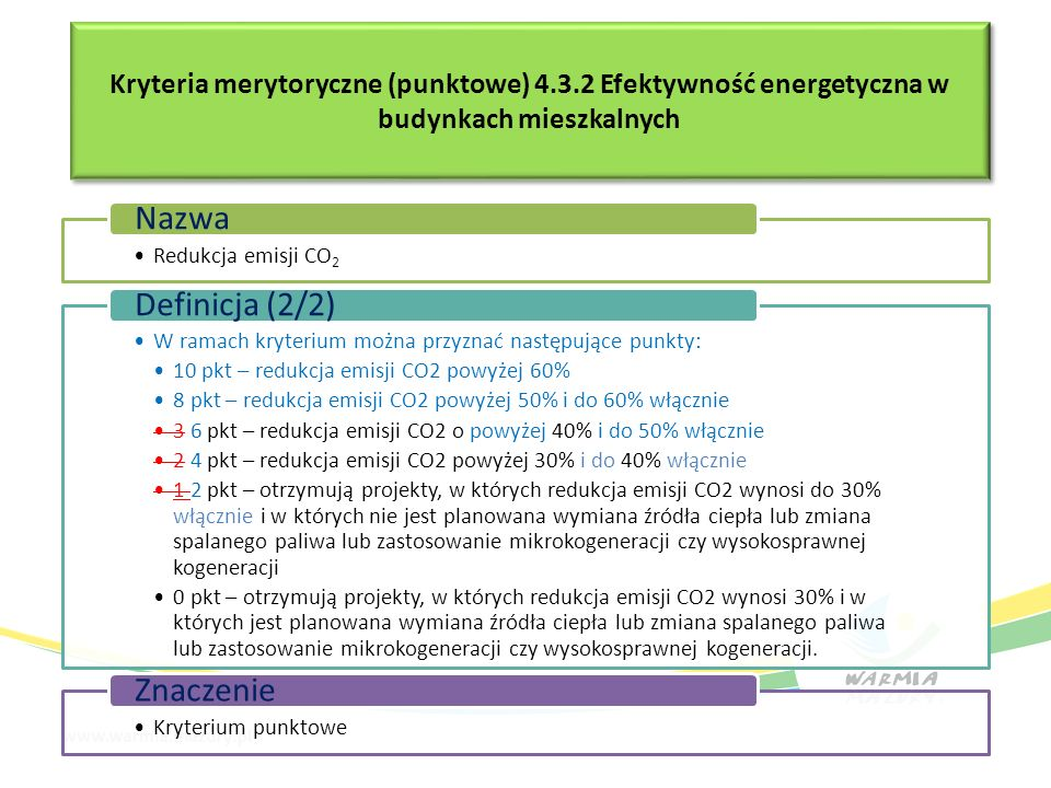 Kryteria merytoryczne (punktowe) 4.3.2 Efektywność energetyczna w budynkach mieszkalnych Redukcja emisji CO2 Nazwa W ramach kryterium można przyznać n