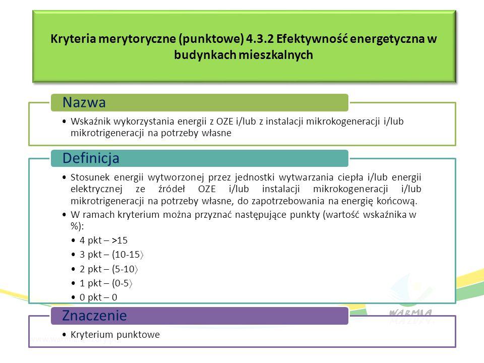 Kryteria merytoryczne (punktowe) 4.3.2 Efektywność energetyczna w budynkach mieszkalnych Wskaźnik wykorzystania energii z OZE i/lub z instalacji mikro