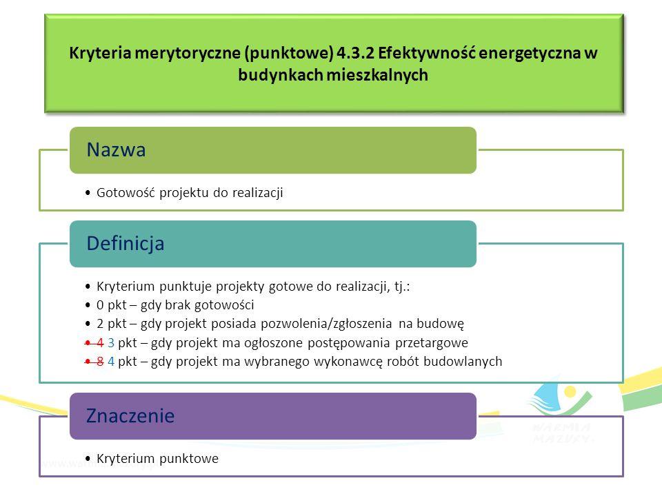 Kryteria merytoryczne (punktowe) 4.3.2 Efektywność energetyczna w budynkach mieszkalnych Gotowość projektu do realizacji Nazwa Kryterium punktuje proj