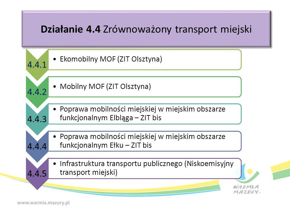 Działanie 4.4 Zrównoważony transport miejski 4.4.1 Ekomobilny MOF (ZIT Olsztyna) 4.4.2 Mobilny MOF (ZIT Olsztyna) 4.4.3 Poprawa mobilności miejskiej w