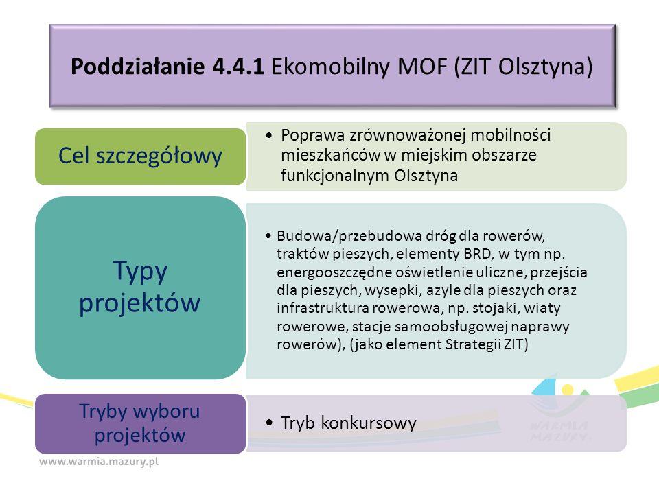 Poddziałanie 4.4.1 Ekomobilny MOF (ZIT Olsztyna) Poprawa zrównoważonej mobilności mieszkańców w miejskim obszarze funkcjonalnym Olsztyna Cel szczegółowy Budowa/przebudowa dróg dla rowerów, traktów pieszych, elementy BRD, w tym np.