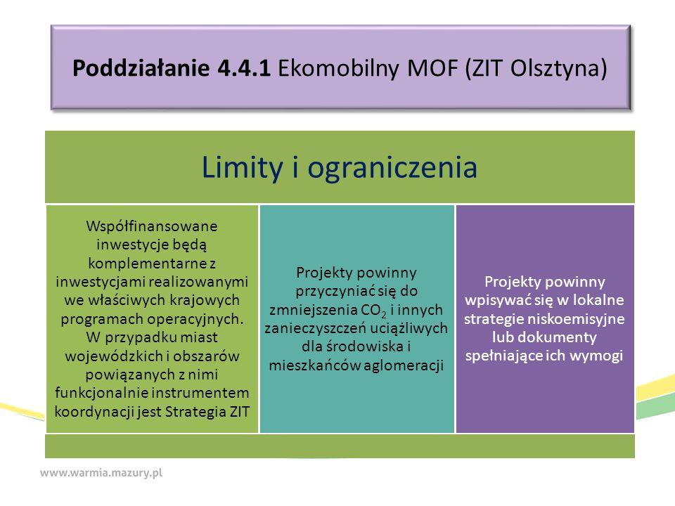 Poddziałanie 4.4.1 Ekomobilny MOF (ZIT Olsztyna) Limity i ograniczenia Współfinansowane inwestycje będą komplementarne z inwestycjami realizowanymi we