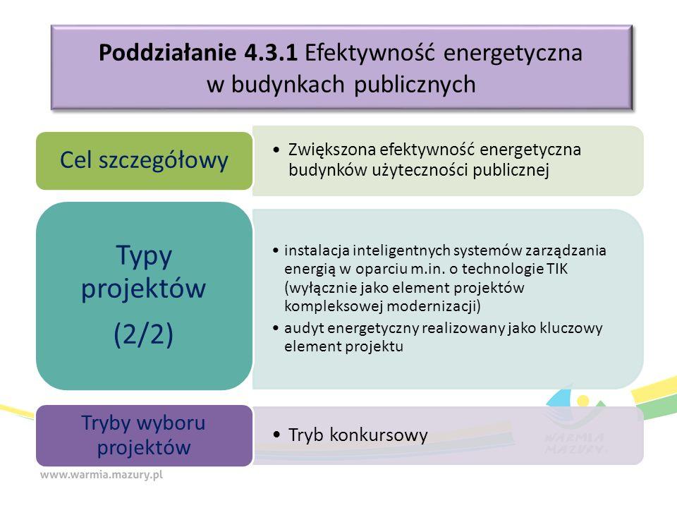 Poddziałanie 4.3.1 Efektywność energetyczna w budynkach publicznych Zwiększona efektywność energetyczna budynków użyteczności publicznej Cel szczegółowy instalacja inteligentnych systemów zarządzania energią w oparciu m.in.