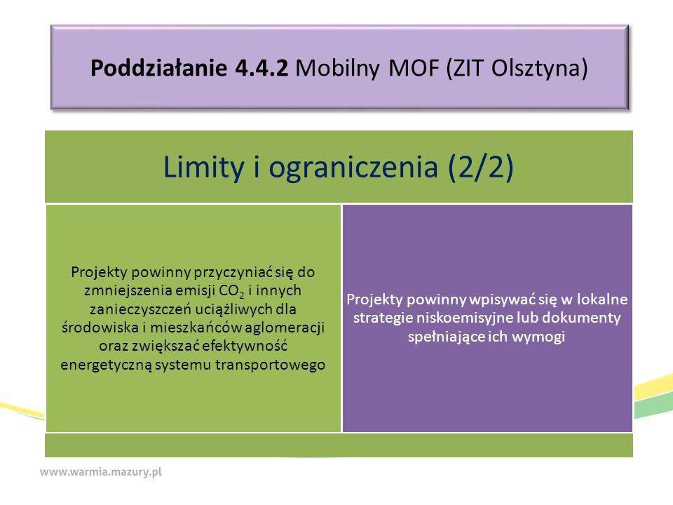 Poddziałanie 4.4.2 Mobilny MOF (ZIT Olsztyna) Limity i ograniczenia (2/2) Projekty powinny przyczyniać się do zmniejszenia emisji CO2 i innych zanieczyszczeń uciążliwych dla środowiska i mieszkańców aglomeracji oraz zwiększać efektywność energetyczną systemu transportowego Projekty powinny wpisywać się w lokalne strategie niskoemisyjne lub dokumenty spełniające ich wymogi