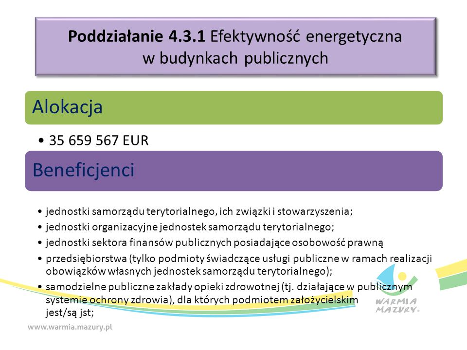 Poddziałanie 4.3.1 Efektywność energetyczna w budynkach publicznych Alokacja 35 659 567 EUR Beneficjenci jednostki samorządu terytorialnego, ich związki i stowarzyszenia; jednostki organizacyjne jednostek samorządu terytorialnego; jednostki sektora finansów publicznych posiadające osobowość prawną przedsiębiorstwa (tylko podmioty świadczące usługi publiczne w ramach realizacji obowiązków własnych jednostek samorządu terytorialnego); samodzielne publiczne zakłady opieki zdrowotnej (tj.