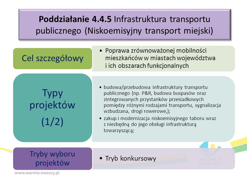 Poddziałanie 4.4.5 Infrastruktura transportu publicznego (Niskoemisyjny transport miejski) Poprawa zrównoważonej mobilności mieszkańców w miastach województwa i ich obszarach funkcjonalnych Cel szczegółowy budowa/przebudowa infrastruktury transportu publicznego (np.