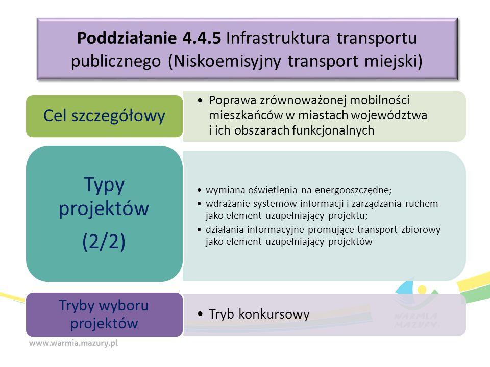 Poddziałanie 4.4.5 Infrastruktura transportu publicznego (Niskoemisyjny transport miejski) Poprawa zrównoważonej mobilności mieszkańców w miastach województwa i ich obszarach funkcjonalnych Cel szczegółowy wymiana oświetlenia na energooszczędne; wdrażanie systemów informacji i zarządzania ruchem jako element uzupełniający projektu; działania informacyjne promujące transport zbiorowy jako element uzupełniający projektów Typy projektów (2/2) Tryb konkursowy Tryby wyboru projektów