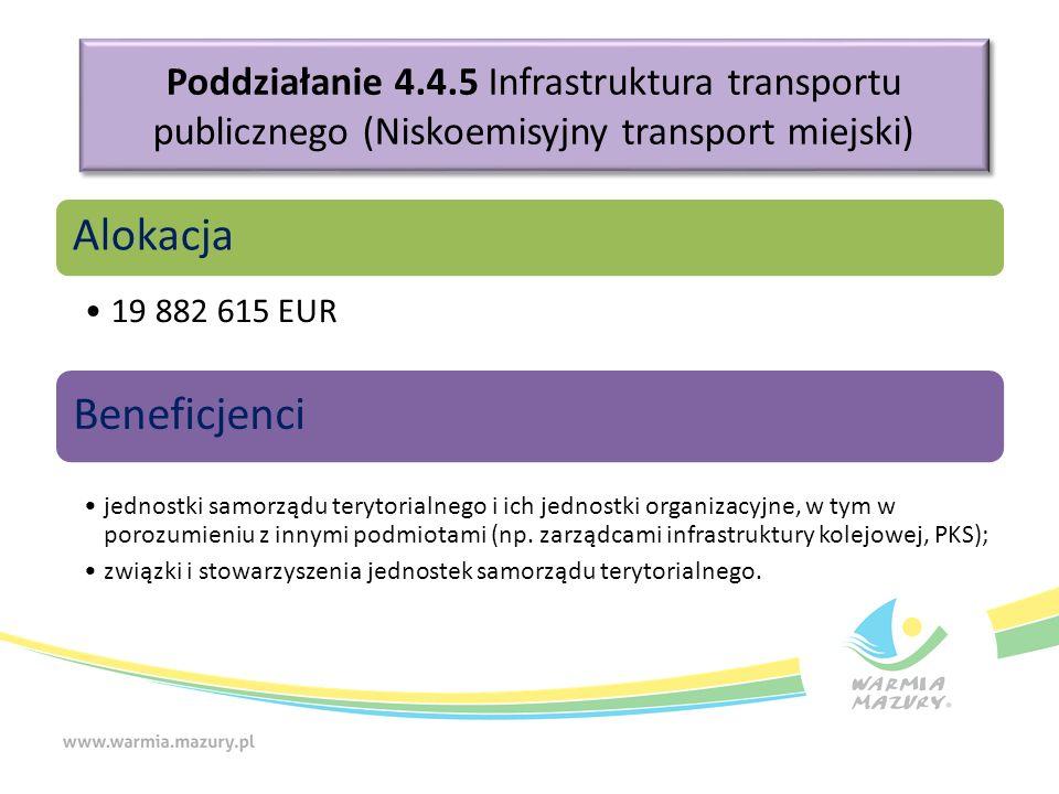 Poddziałanie 4.4.5 Infrastruktura transportu publicznego (Niskoemisyjny transport miejski) Alokacja 19 882 615 EUR Beneficjenci jednostki samorządu terytorialnego i ich jednostki organizacyjne, w tym w porozumieniu z innymi podmiotami (np.