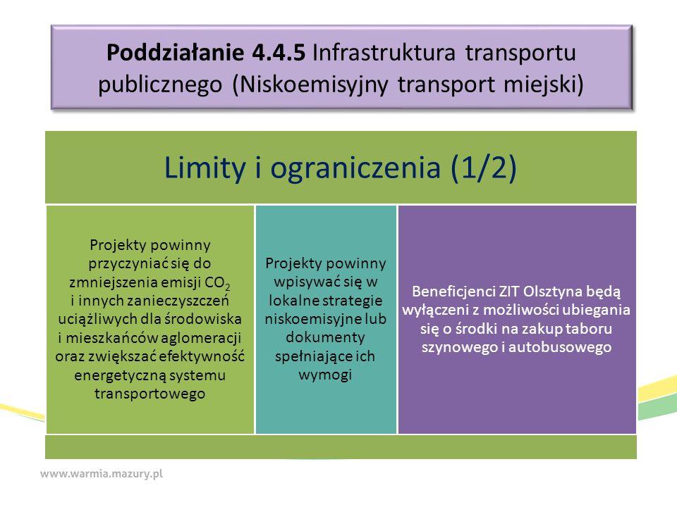 Poddziałanie 4.4.5 Infrastruktura transportu publicznego (Niskoemisyjny transport miejski) Limity i ograniczenia (1/2) Projekty powinny przyczyniać si