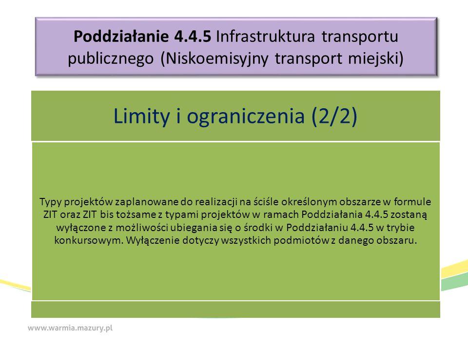 Poddziałanie 4.4.5 Infrastruktura transportu publicznego (Niskoemisyjny transport miejski) Limity i ograniczenia (2/2) Typy projektów zaplanowane do realizacji na ściśle określonym obszarze w formule ZIT oraz ZIT bis tożsame z typami projektów w ramach Poddziałania 4.4.5 zostaną wyłączone z możliwości ubiegania się o środki w Poddziałaniu 4.4.5 w trybie konkursowym.