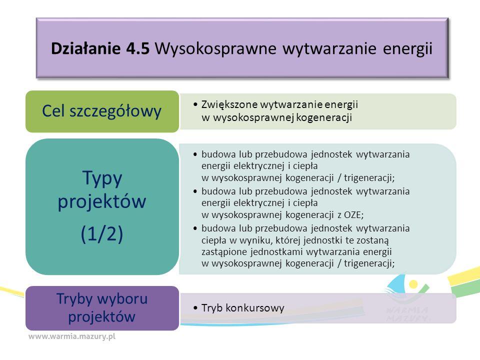 Działanie 4.5 Wysokosprawne wytwarzanie energii Zwiększone wytwarzanie energii w wysokosprawnej kogeneracji Cel szczegółowy budowa lub przebudowa jedn