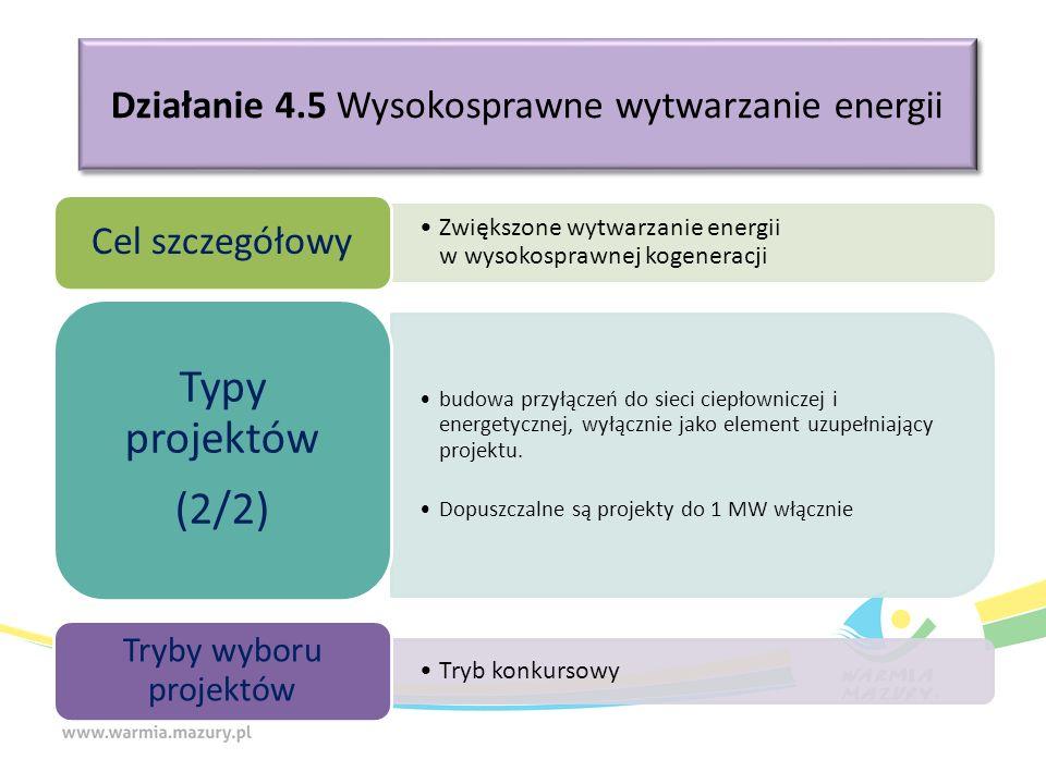 Działanie 4.5 Wysokosprawne wytwarzanie energii Zwiększone wytwarzanie energii w wysokosprawnej kogeneracji Cel szczegółowy budowa przyłączeń do sieci