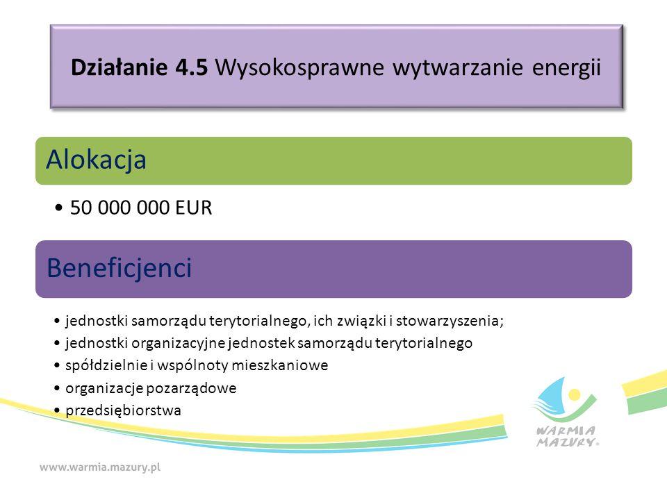 Działanie 4.5 Wysokosprawne wytwarzanie energii Alokacja 50 000 000 EUR Beneficjenci jednostki samorządu terytorialnego, ich związki i stowarzyszenia; jednostki organizacyjne jednostek samorządu terytorialnego spółdzielnie i wspólnoty mieszkaniowe organizacje pozarządowe przedsiębiorstwa