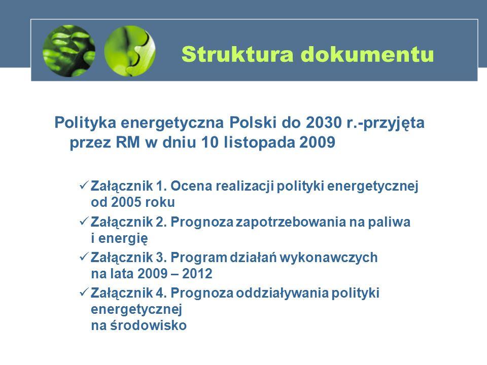 Struktura dokumentu Polityka energetyczna Polski do 2030 r.-przyjęta przez RM w dniu 10 listopada 2009 Załącznik 1. Ocena realizacji polityki energety