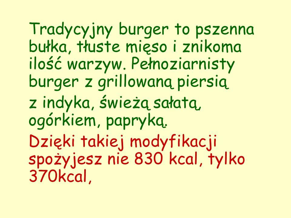 Dietetyczny hamburger Składniki: 1 pierś kurczaka lub indyka przyprawy: papryka, sól, pieprz, przyprawa do kurczaka płatki kukurydziane 1 jajko 2 liście sałaty zielonej 1 średni pomidor 1 mały ogórek kiszony 4 plastry ogórka zielonego sos czosnkowy: 100 g jogurtu naturalnego, 1 ząbek czosnku, pieprz bułka pełnoziarnista