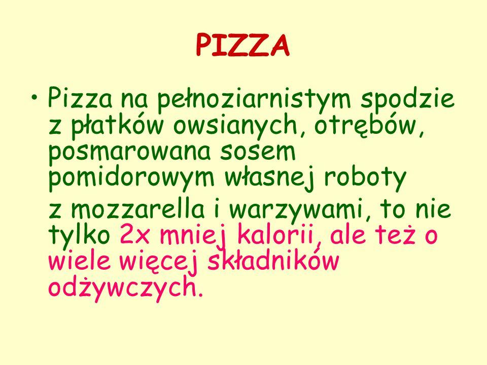 PIZZA Pizza na pełnoziarnistym spodzie z płatków owsianych, otrębów, posmarowana sosem pomidorowym własnej roboty z mozzarella i warzywami, to nie tyl