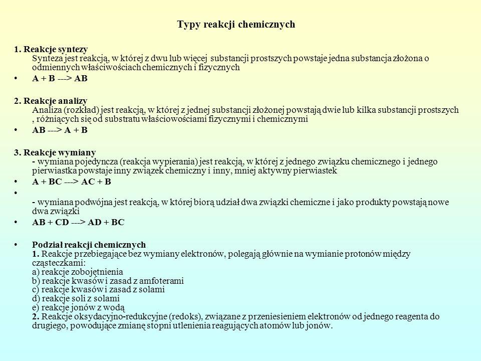 Typy reakcji chemicznych 1.