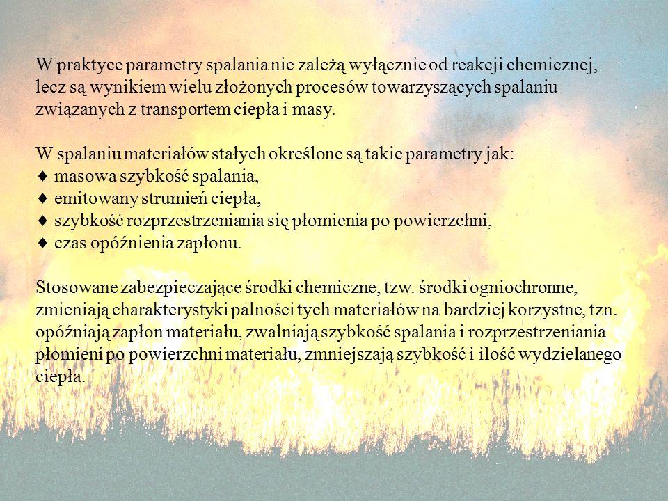 W praktyce parametry spalania nie zależą wyłącznie od reakcji chemicznej, lecz są wynikiem wielu złożonych procesów towarzyszących spalaniu związanych z transportem ciepła i masy.