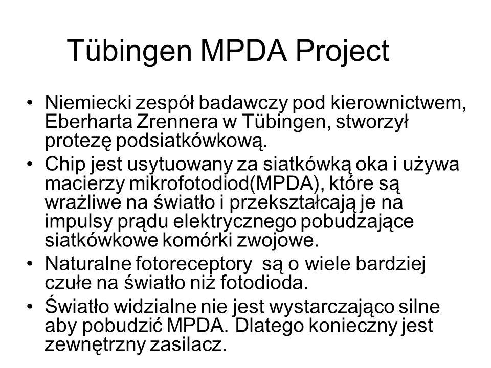 Tübingen MPDA Project Niemiecki zespół badawczy pod kierownictwem, Eberharta Zrennera w Tübingen, stworzył protezę podsiatkówkową. Chip jest usytuowan