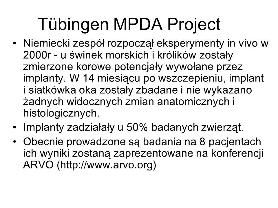 Tübingen MPDA Project Niemiecki zespół rozpoczął eksperymenty in vivo w 2000r - u świnek morskich i królików zostały zmierzone korowe potencjały wywołane przez implanty.