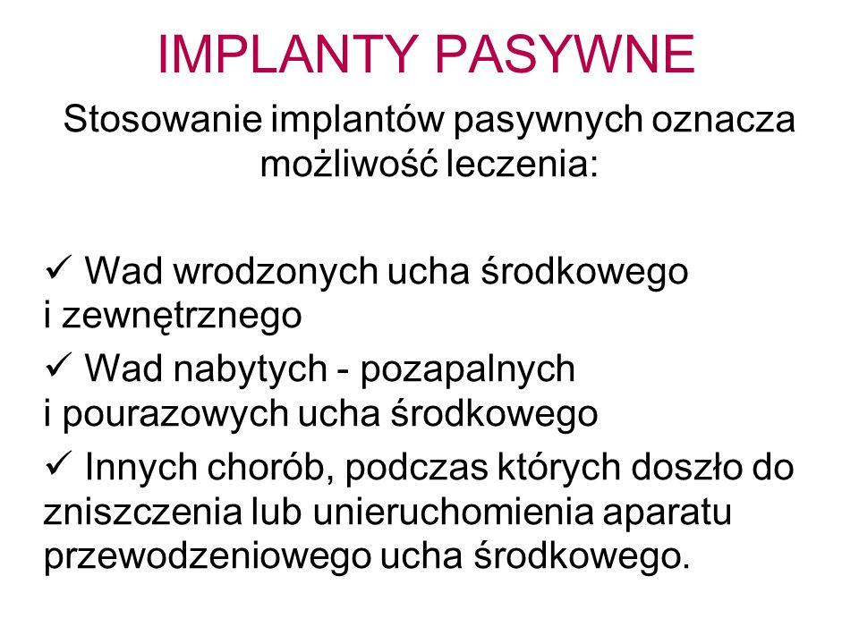 IMPLANTY PASYWNE Stosowanie implantów pasywnych oznacza możliwość leczenia: Wad wrodzonych ucha środkowego i zewnętrznego Wad nabytych - pozapalnych i